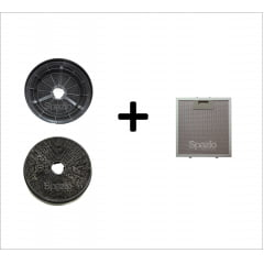 KIT 1 Filtro metálico + 2 filtros de carvão 17,5cm coifa Vetro 60